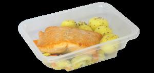 Frischmenü Wildlachs mit Kartoffeln und Fenchelgemüse in der Menüschale